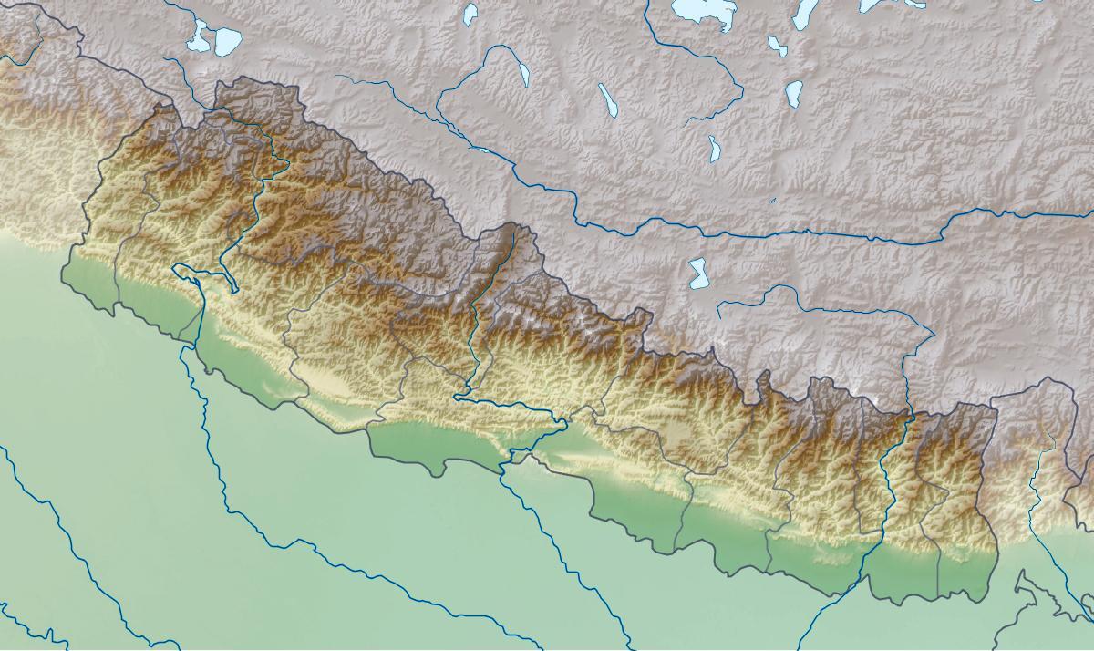 Fyzicka Mapa Nepalu Mapa Fyzicke Nepalu Jizni Asie Asie